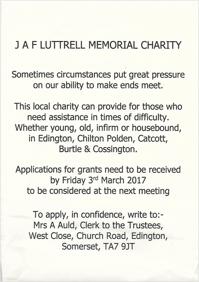 J A F LUTTRELL CHARITY